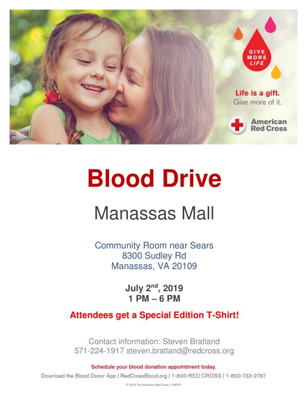 Manassas Mall July 2nd 2019 Blood Drive