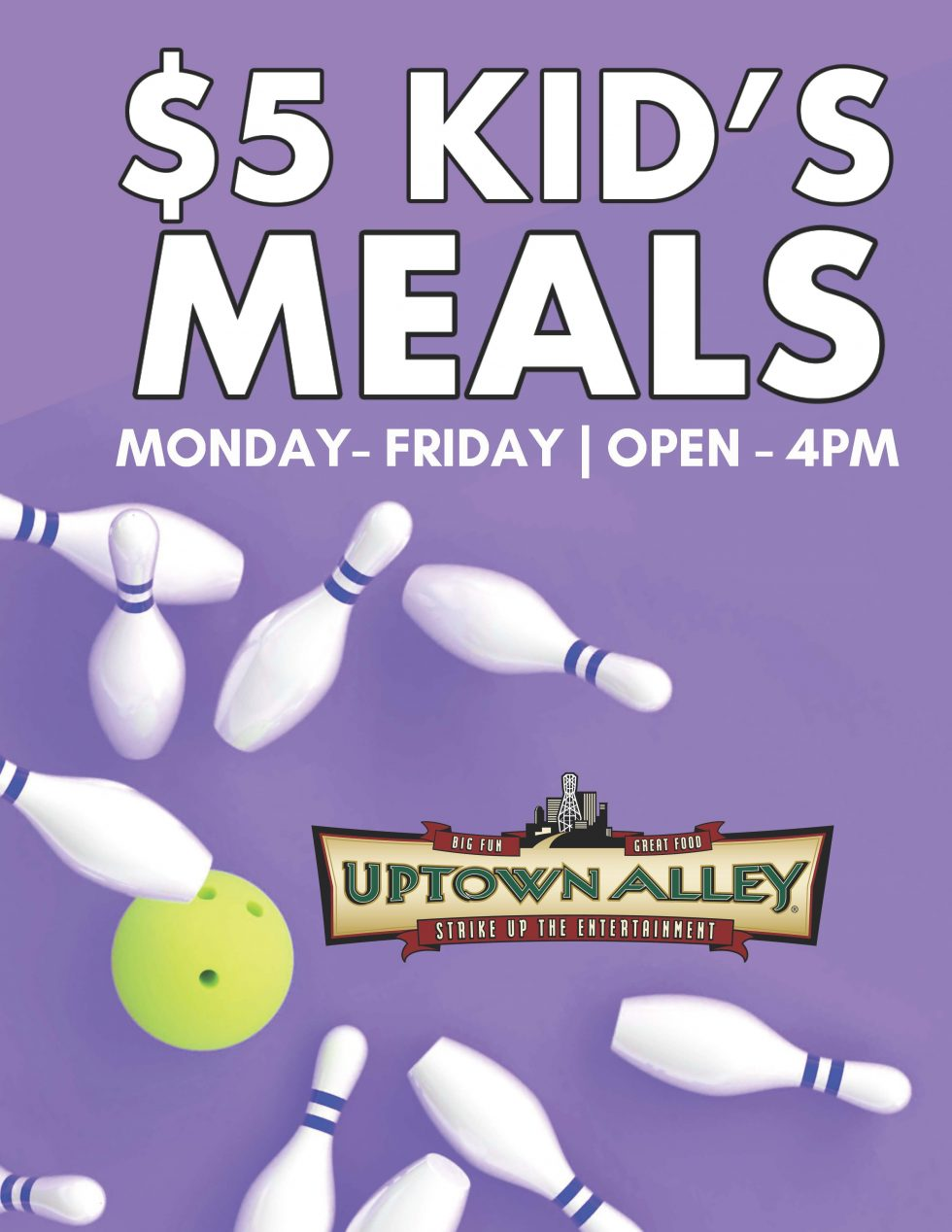 5 KIds Meals open 4pm